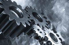 Engranaje-mecánicos en el tono azul metálico Fotografía de archivo