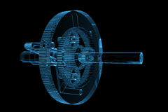 Engranaje planetario transparente rendido de la radiografía azul stock de ilustración