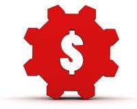 Engranaje rojo con una muestra de dólar Imagen de archivo libre de regalías