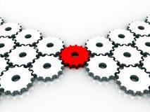 Engranaje rojo de la conexión Stock de ilustración