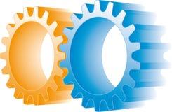 Engranajes anaranjados y azules libre illustration