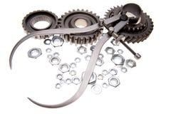Engranajes, calibradores y tuercas Imagen de archivo