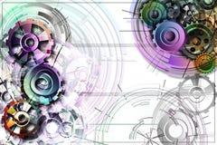 Engranajes coloreados en un fondo blanco con esquemas Imagen de archivo libre de regalías