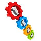 Engranajes coloridos de la rueda dentada con el texto del equipo Imagen de archivo libre de regalías