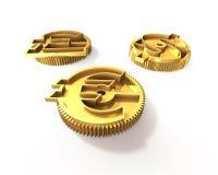Engranajes con la muestra de dólar de oro, libra, símbolo euro, illustrati 3D Fotografía de archivo libre de regalías