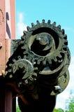 Engranajes de bobina de la grúa de la yarda de mercancías Imagen de archivo libre de regalías