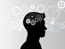 Engranajes de la cabeza y del cerebro en curso Fotografía de archivo libre de regalías