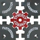 Engranajes de la sinergia - trabajo en equipo en la acción stock de ilustración