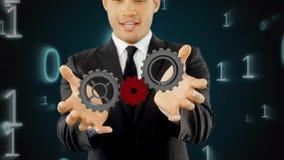 Engranajes de manipulación del hombre almacen de metraje de vídeo