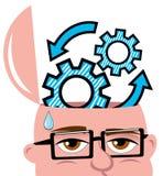 Engranajes de mente abierta de pensamiento de la idea del hombre aislados Imagen de archivo libre de regalías