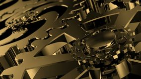 Engranajes de oro giratorios aislados El movimiento del metal adapta en un dispositivo mecánico almacen de metraje de vídeo