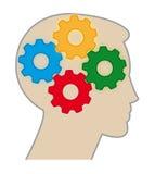 Engranajes del color del cerebro Foto de archivo libre de regalías