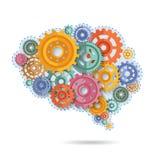 Engranajes del color del cerebro ilustración del vector