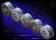 Engranajes del metal representación 3d Fotografía de archivo libre de regalías