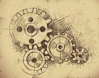 Engranajes del vector en el papel viejo Imagen de archivo