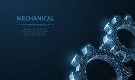 Engranajes Ejemplo moderno abstracto del engranaje 3d del wireframe dos del vector en fondo azul marino ilustración del vector
