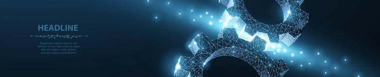 Engranajes Ejemplo moderno abstracto del engranaje 3d del wireframe dos del vector en fondo azul marino foto de archivo libre de regalías