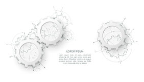 Engranajes en el compromiso Fondo industrial del extracto del dibujo de ingeniería con ruedas dentadas fotos de archivo