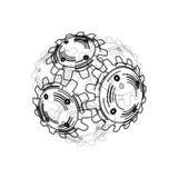 Engranajes en el compromiso Fondo industrial del extracto del dibujo de ingeniería con ruedas dentadas Imagen de archivo
