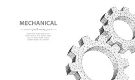 Engranajes Engranaje abstracto del wireframe dos del vector del primer ilustración 3d aislada en blanco Imagen de archivo libre de regalías