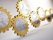 Engranajes euro de la moneda Imágenes de archivo libres de regalías