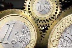 Engranajes euro de la moneda Foto de archivo libre de regalías
