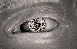 Engranajes mecánicos dentro del ojo de una robusteza