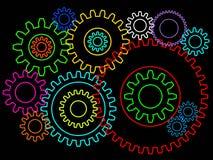 Engranajes o fondo de las ruedas dentadas 2.o aislado Teamworking o concepto de la conexión foto de archivo