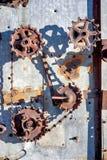 Engranajes oxidados de la cosechadora antigua vieja Imagen de archivo libre de regalías