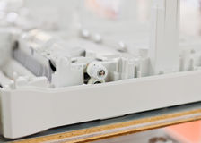 Engranajes plásticos de la impresora desensamblada Imagen de archivo libre de regalías