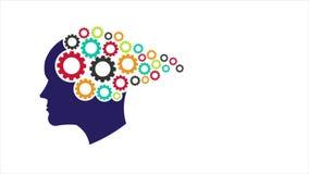 Engranajes principales Abstracción de la mente de pensamiento, entrenamiento de la memoria, psicología Gráfico 1080 HD del movimi stock de ilustración