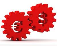 Engranajes rojos con un dólar y una muestra euro Imágenes de archivo libres de regalías