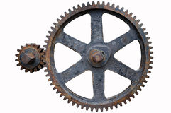 Engranajes viejos del hierro Foto de archivo libre de regalías