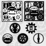 Engranajes y el coche Fotografía de archivo libre de regalías