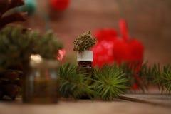 Engrase el cáñamo en una botella y el cáñamo en un fondo de la Navidad imagen de archivo libre de regalías