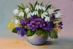 Engrase las flores de la pintura al óleo - todavía vida, un ramo de flores Imagenes de archivo
