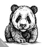 Engrave ink draw panda illustration Stock Photos