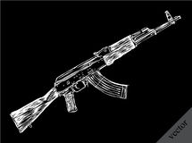 Engrave isolated Kalashnikov illustration sketch Stock Images