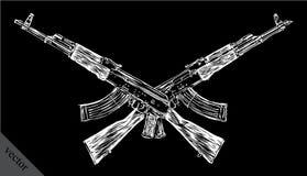 Engrave isolated Kalashnikov illustration sketch Stock Photography