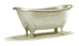 Engraved Bathtub. Engraved-style illustration of an old bathtub Stock Photo