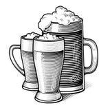 Engraved beer glasses vector illustration