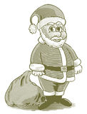 Engraved Cartoon Santa Stock Photography