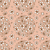 Engraved cherry blossom seamless pattern Royalty Free Stock Photography