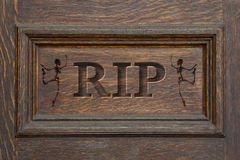 Engraved Coffin RIP Skeleton Royalty Free Stock Photography