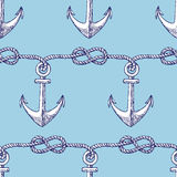Engraved eternity eight knot and anchor. Seamless pattern Royalty Free Stock Image