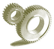 Engraved Gears Royalty Free Stock Image