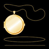 engraved gold locket round 库存例证