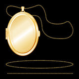Engraved Gold Oval Locket Royalty Free Stock Photos