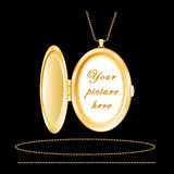 Engraved Gold Oval Locket Stock Photo