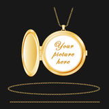 Engraved Gold Round Locket, Chains  Stock Images